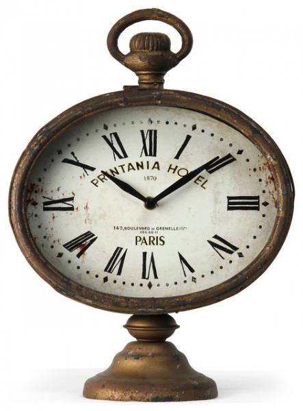 Printania Hotel Paris French Country Antique Brass Table Clock clocks