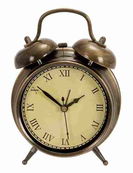 Woodland Imports Metal Table Clock Antique Brass