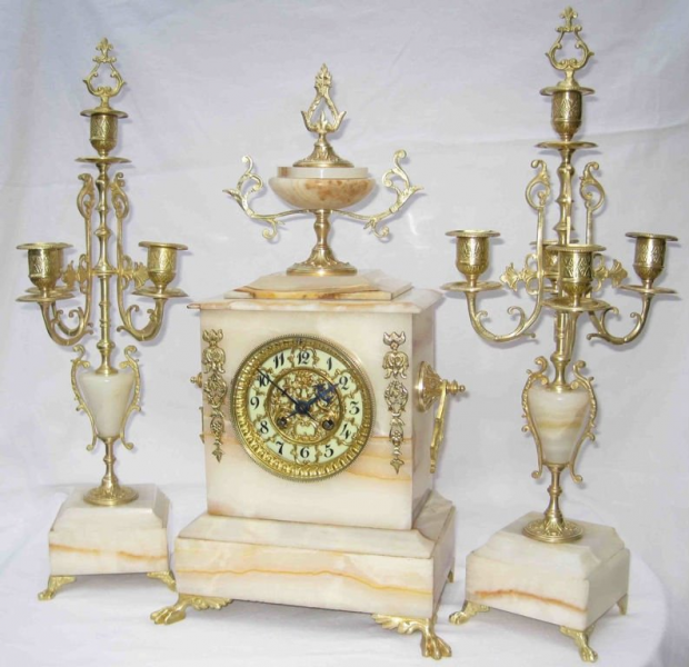 Antique French Table Clock Set With 2 Candelabras - Buy Antique ...