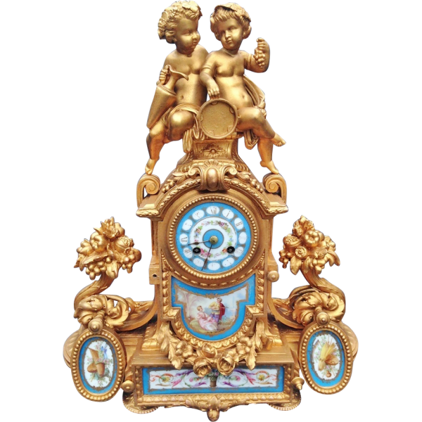 Antique French table clock with Sevres-Japy Freres-1855- FREE from ...