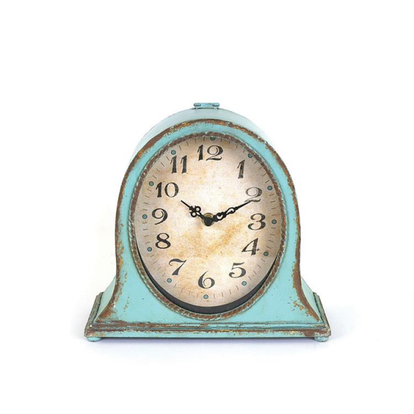 Antique Blue Vintage Style Metal Table Clock