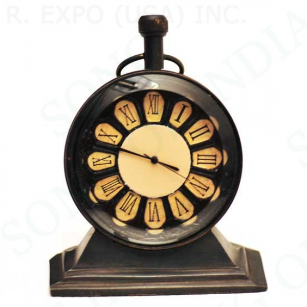 Antique Style Brass Table Clock