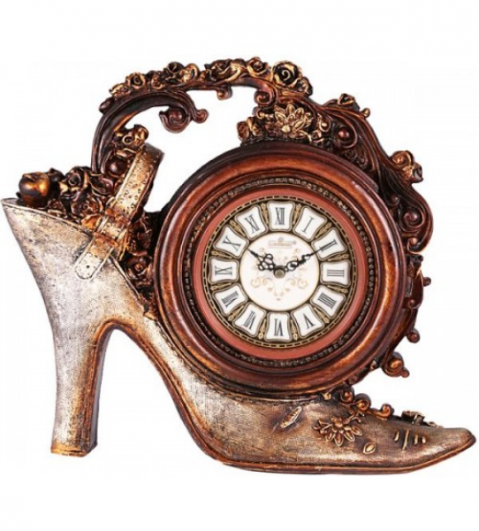 European Style Antique Shoe Table Clock - Bronze