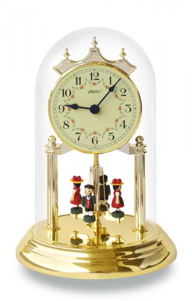 Haller Quartz Anniversary Clock Table Clock Crystal Glass Dome Brass ...