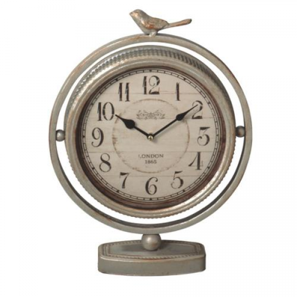 Pack of 2 Antique-Style Silver Bird Round Desk Top or Table Top Clocks ...