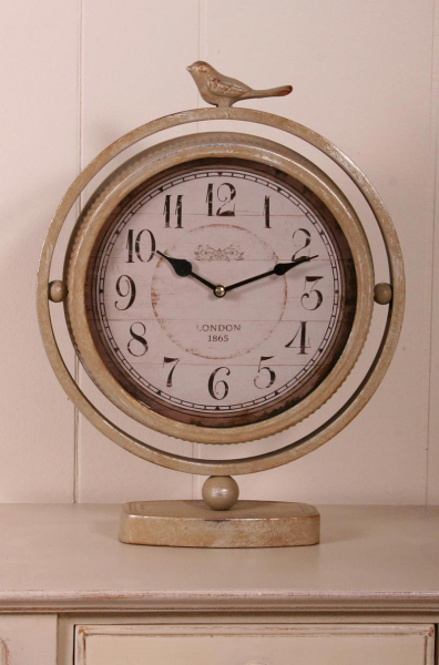 London 1865 Vintage Chic Antiqued Silver Bird Clock