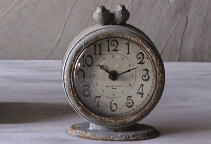 Pewter Table Clock | Grey Table Top Clock Antique Farm House