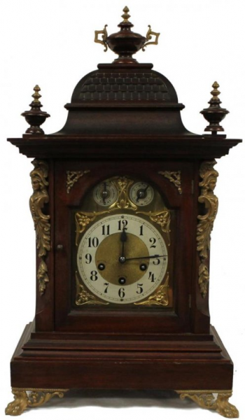 UNGHANS GERMAN 19TH CENTURY WOODEN MANTLE CLOCK : Lot 28A