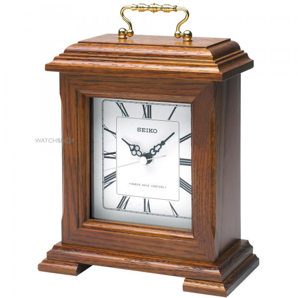 Seiko Clocks Wooden Mantle Clock Radio Controlled (QXR130B) - WATCH ...