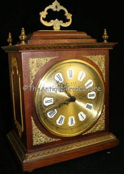 Vintage German wood large carriage mantel Weimar clock