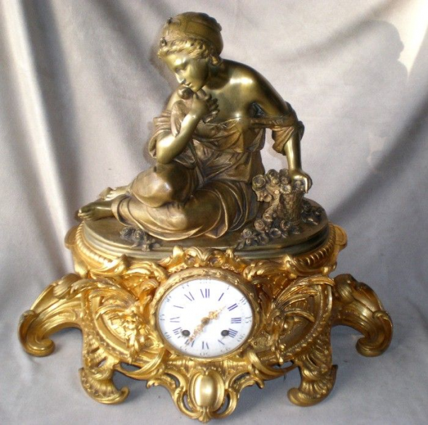 Stunning Antique French Figural Mantel Clock from diamondantique on ...
