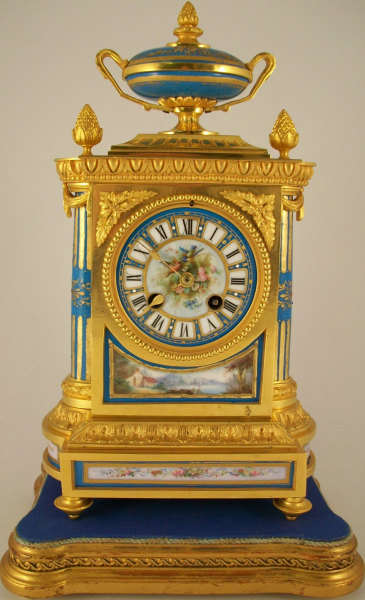 Antique French Ormolu Mantel Clock with Serves Panels | Ian Burton ...