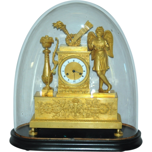 Antique French Figural Mantel Clock with Glass Dome from vrantiques on ...