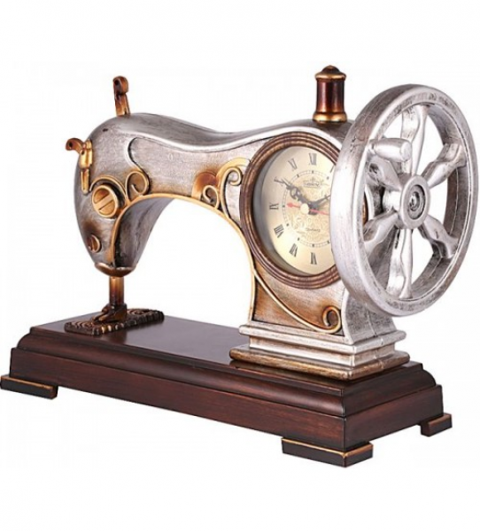 Antique Sewing Machine Table Clock - Silver/Gold