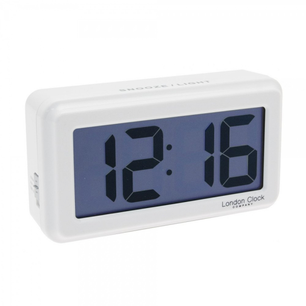 ... London Clock Co › London Clock Co White Large Digit LCD Alarm Clock