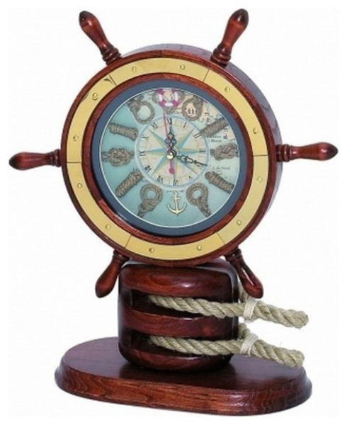 ... Clock 13'' - Ship Wheel Decoration - Nautical Kno beach-style-desk-and