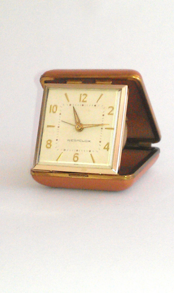 RESERVE for DREW Westclox Travel Alarm Clock Tan Leather Case Gold ...