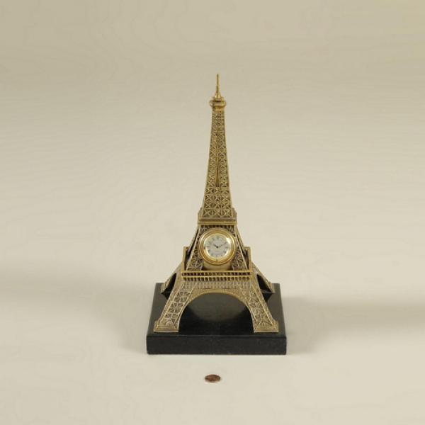 ... Cast Brass Table Clock, Eiffel Tower Motif, Black Waxstone Base