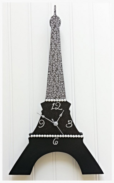 Eiffel Tower Clock Wall Clock Decor Black Damask Wall Clock Eiffel ...