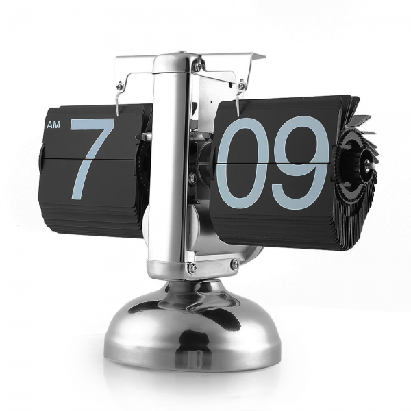 ... Digital Auto Flip Single Stand Metal Desk Table Clock Unique | eBay