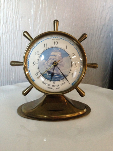 Vintage Brass Ships Wheel Mantle Clock Electric by lindamontano