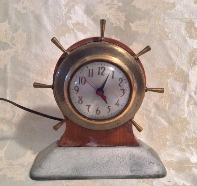 Vintage SHIP Wheel Mantle Clock Working | eBay
