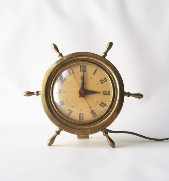 Vintage Brass Ship Wheel Nautical Mantle Clock