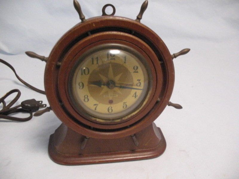 Vintage Seth Thomas Capstan Mantel Clock SHIP Wheel Electric Running ...