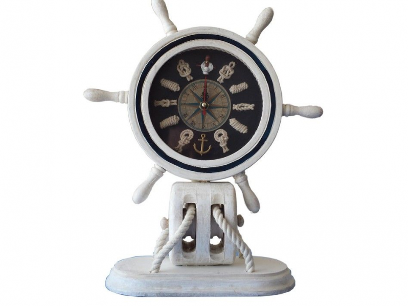 Wholesale Wooden Whitewash Ship Wheel Mantel Knot Clock 13 Model Ship ...