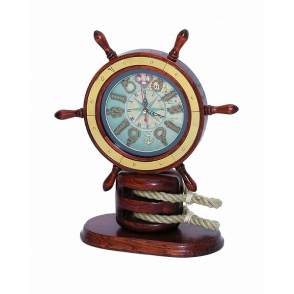 Wholesale Wooden Ship Wheel Mantel Knot Clock 13 Model Ship Assembled ...