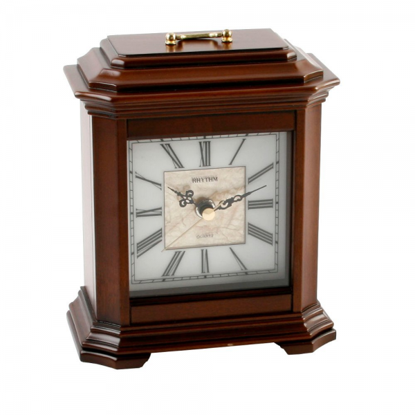 Deluxe Square Wooden Mantel Clock with Roman Dial