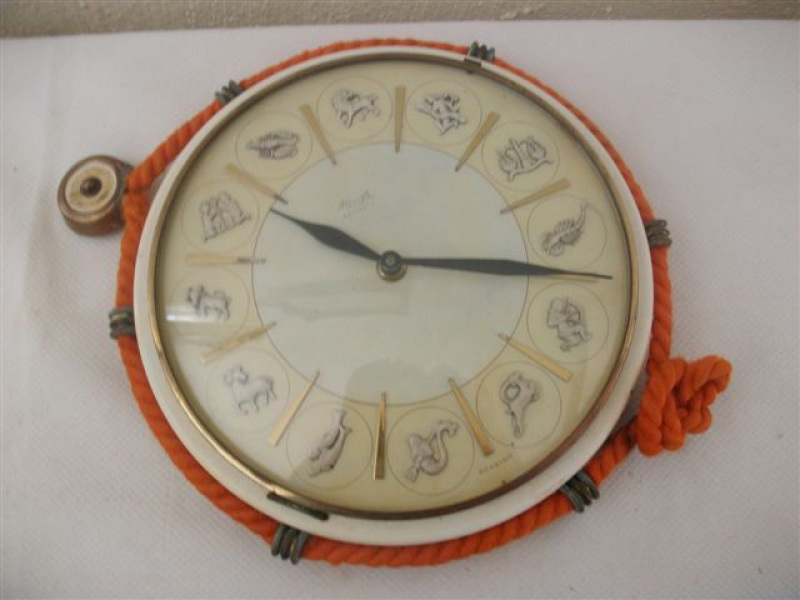 Other Clocks - Vintage round zodiac sign battery operated wall clock ...