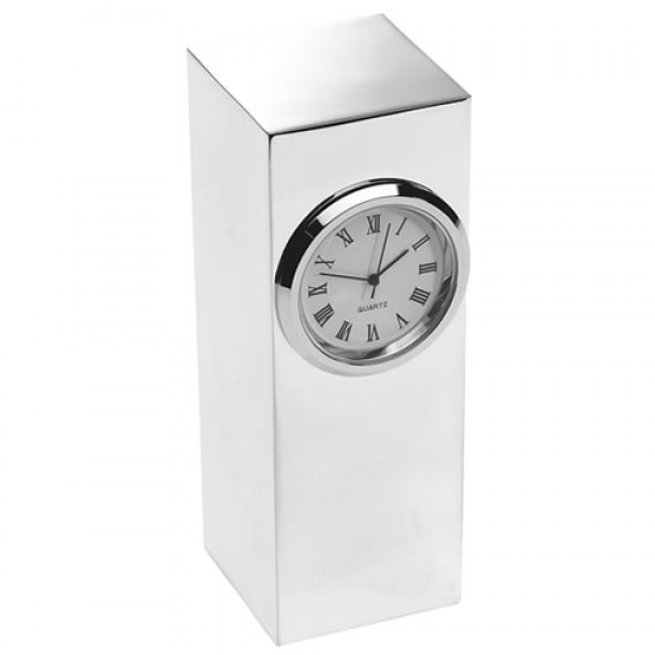 Engraved Silver Plated Tower Desk Clock - Business Gifts Express