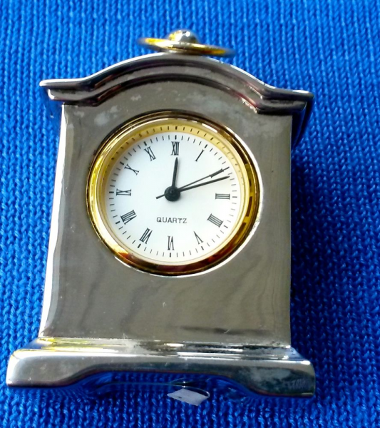 Silver Miniture Carriage Desk Clock New Battery Works | eBay