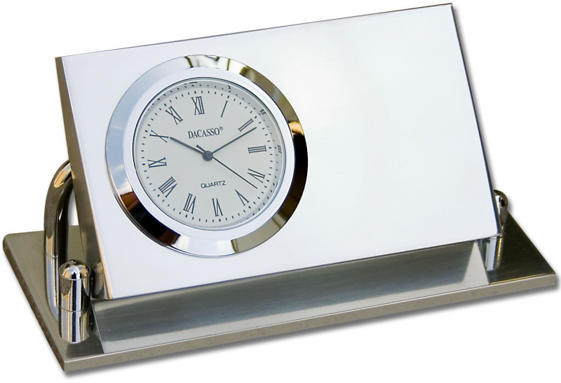 silver desk clock colour changing clock desk clock with pen holder ...