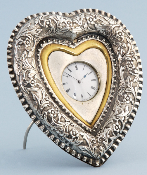 ... Pocket Watches - Silver Heart Shaped Desk Clock - Pieces of Time