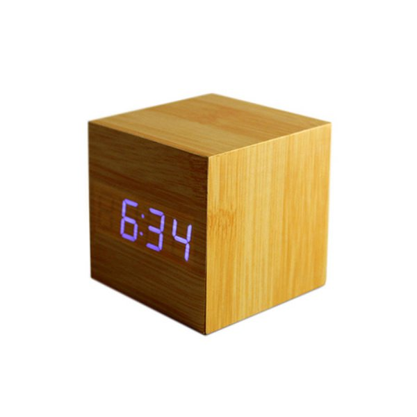 Gingko Digital Wood Cube Click Alarm Clock Beech Blue LED Eco Friendly