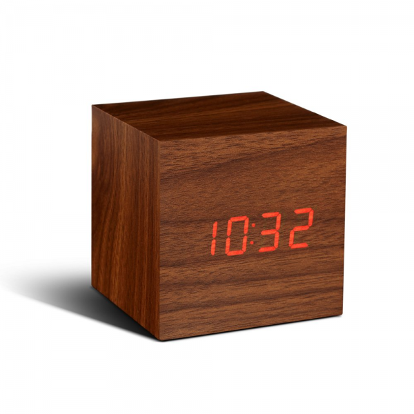 Gingko Digital Wood Cube Click Alarm Clock Walnut Red LED Eco Friendly