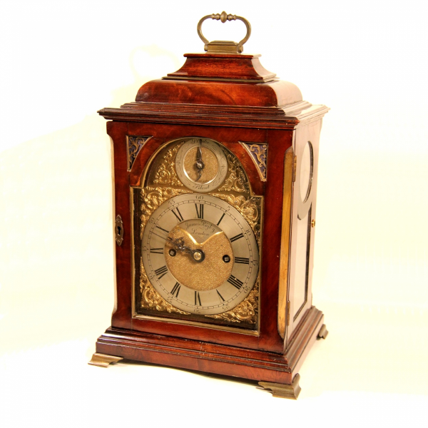 Small mahogany, inverted bell top, striking bracket clock by James ...