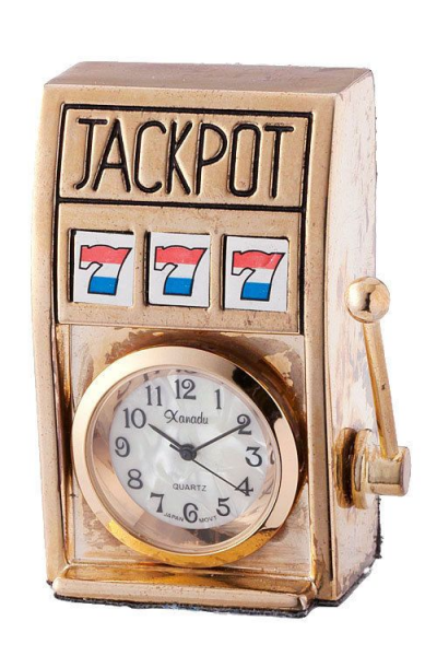 ... SLOT MACHINE DESK CLOCK (Choose: Silver, Gold-Tone) #Designer