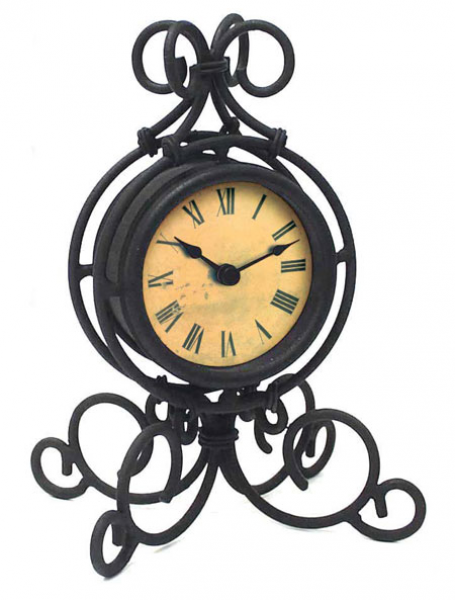 Infinity Instruments Table Clock in Black Wrought Iron 12297BK-1427