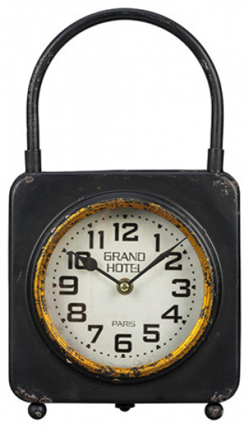 Colfax Worn Black and Gold Table Clock modern-clocks