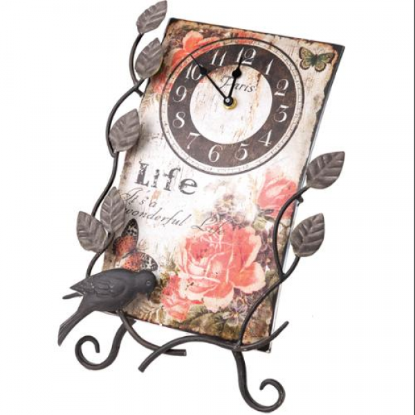 14 Flower Market Life Table Top Clock with Easel - Walmart.com
