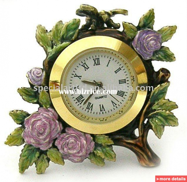 antique metal decoration flower table clock with Japan movement for ...