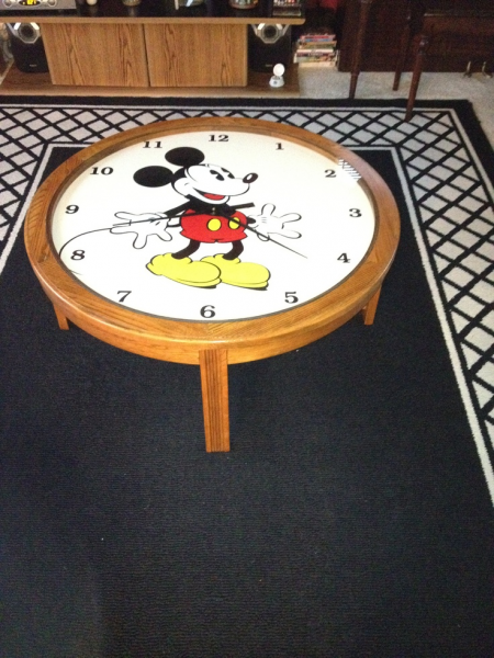 Mickey Mouse working clock coffee table | Coffee Table Clock ...