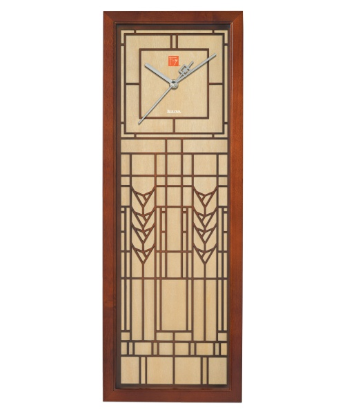 Frank Lloyd Wright DeRhodes Wall Clock by Bulova - 8W x 22H in. - Wall ...