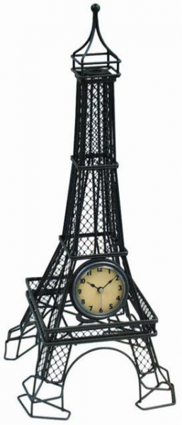 Metal Wire Eiffel Tower Table Clock from Theisen Clock & Novelty.