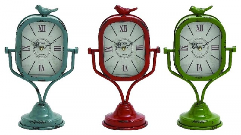 of 3 Metal Table Clocks Blue Red Green Bird Decor 34924 rustic-desk ...