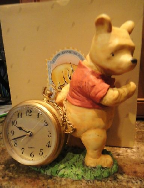 Classic Winnie the Pooh Hand Painted Desk Clock by Charpente