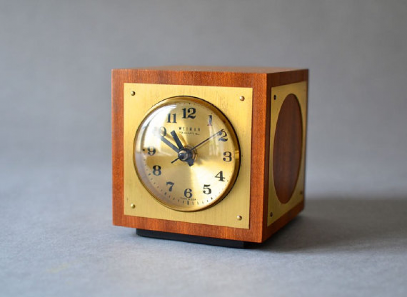 Vintage desk clock table clock brass Weimar GDR East German 60s Mid ...